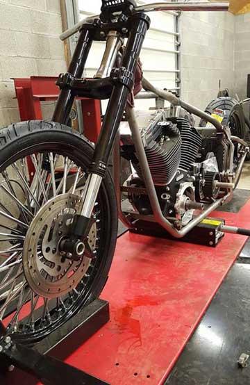 Kraft Tech Custom Softail Frame on PRO 1200 Motorcycle Lift