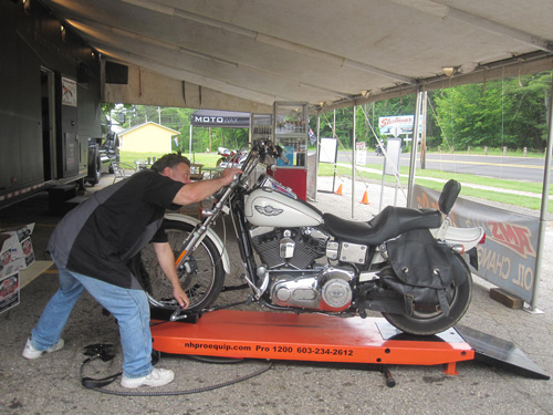DAM Motorcycles uses PRO 1200 motorcycle lift to service and repair bikes at Laconia Bike Week