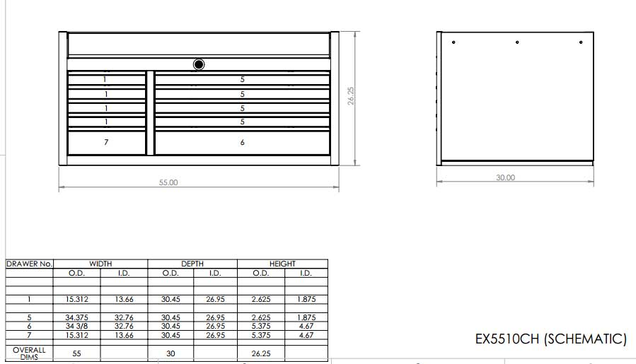 EX5510CH Top Tool Chest Schematic