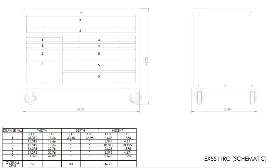 EX5511 Roller Cabinet Toolbox Schematic