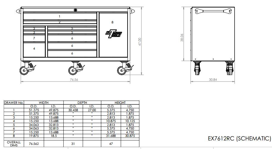 EX7612RC Large Toolbox Roller Cabinet Specifications