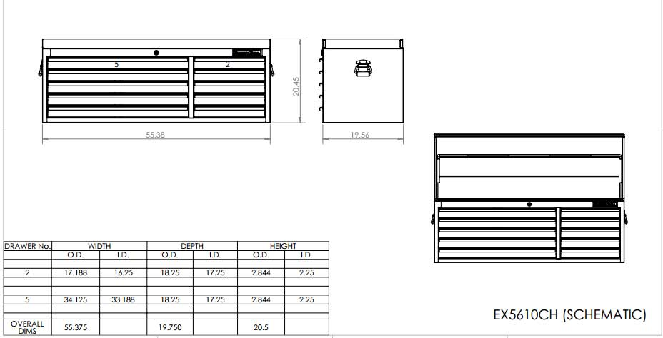 EX5610CH Top Tool Chest Schematic