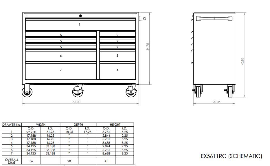 EX5611 Roller Cabinet Toolbox Schematic