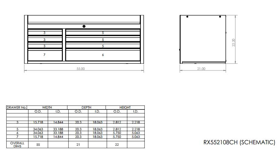 RX552108CH Top Tool Chest Schematic
