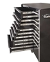 Full-width, polished solid aluminum drawer pulls