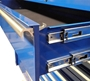 Full-width, polished solid aluminum drawers on tool cabinet