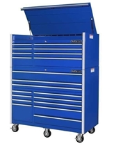 "rollcabs.com CRX552512RC 55"" 12 DRAWER BLUE ROLLING TOOL CABINET AND TOP CHEST SET"