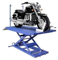 Motorcycle lift with sides and bike