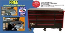 FREE tool trays and socket sets with purchase of tool box