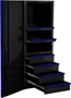 Side Tool Cabinet Locker Black with Blue