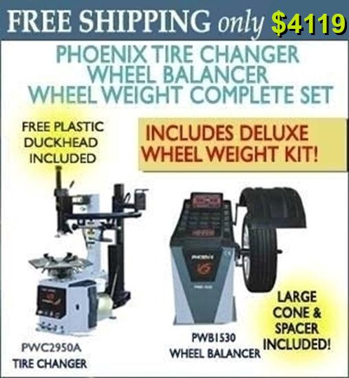 Picture of Phoenix Tire Changer Wheel Balancer Set w/Wheel Weight Kit PWB1535A/PWC2950A